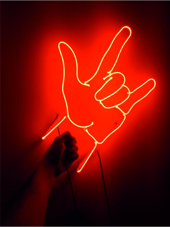 rock el işareti neon, neon rock tabela