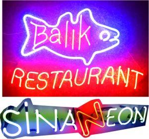 balık restaurant neon tabela imalatı